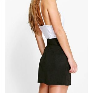 Boohoo Lucia Lace Up Detail Suedette Mini Skirt